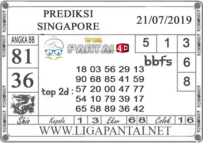 "PREDIKSI TOGEL ""SINGAPORE"" PANTAI4D 21 JULI 2019"