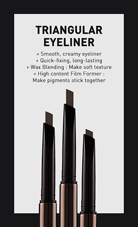 Long-lasting eyeliner with triangular bullet that glides effortlessly and adheres perfectly to the skin to complete a crisp eyeline.