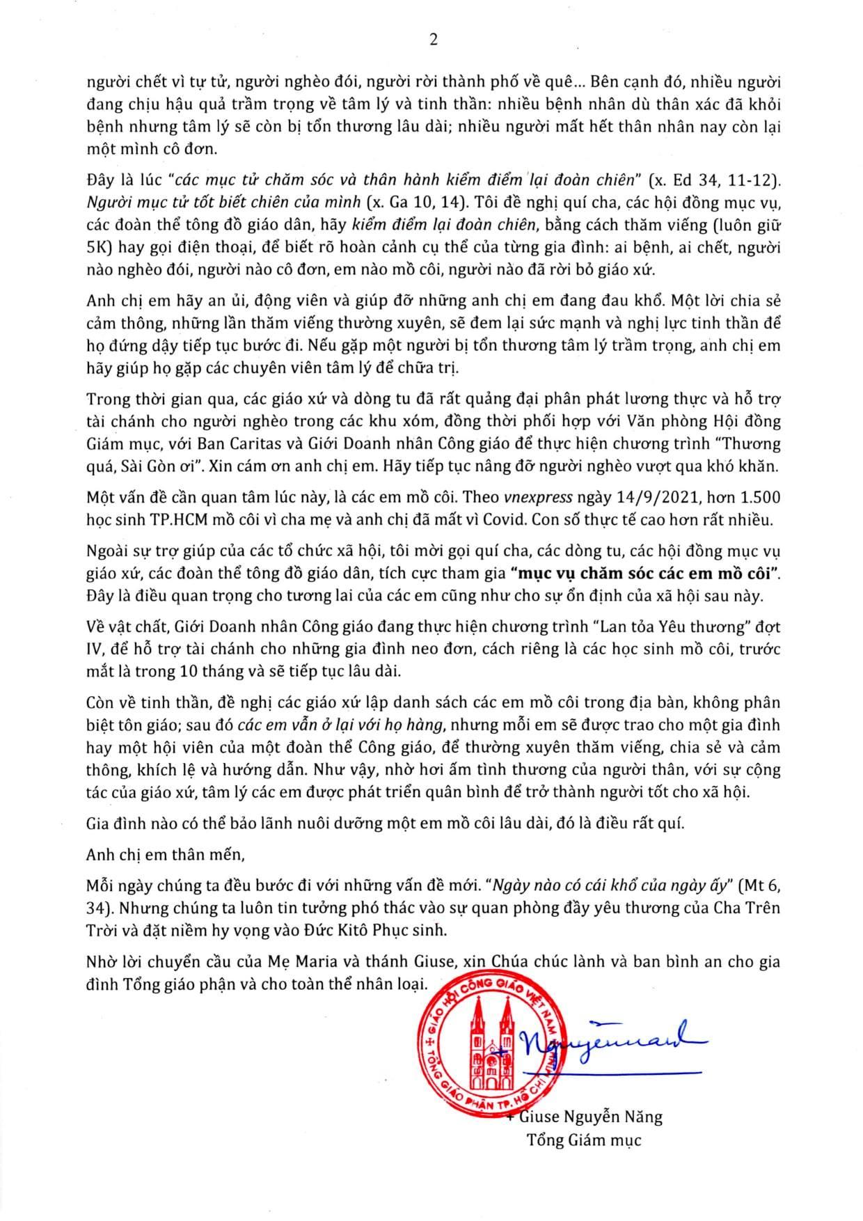 TGM Sài Gòn: Thư Mục Vụ gửi Gia đình Tổng Giáo Phận 04.10.2021
