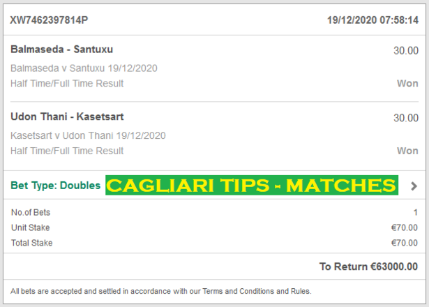 Cagliari Tips Fixed matches