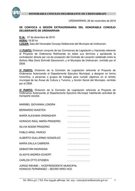 Locales: SESIÓN EXTRAORDINARIA DEL HONORABLE CONCEJO DELIBERANTE