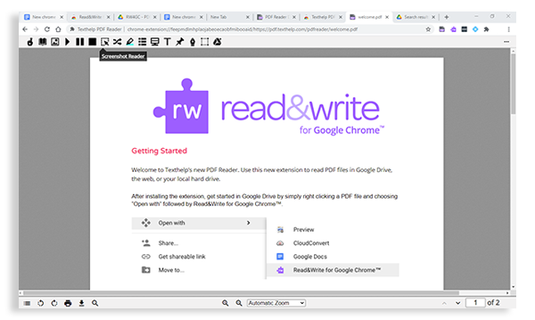 PDF opened with Read&Write PDF viewer toolbar in operation.