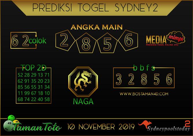 Prediksi Togel SYDNEY 2 TAMAN TOTO 10 NOVEMBER 2019
