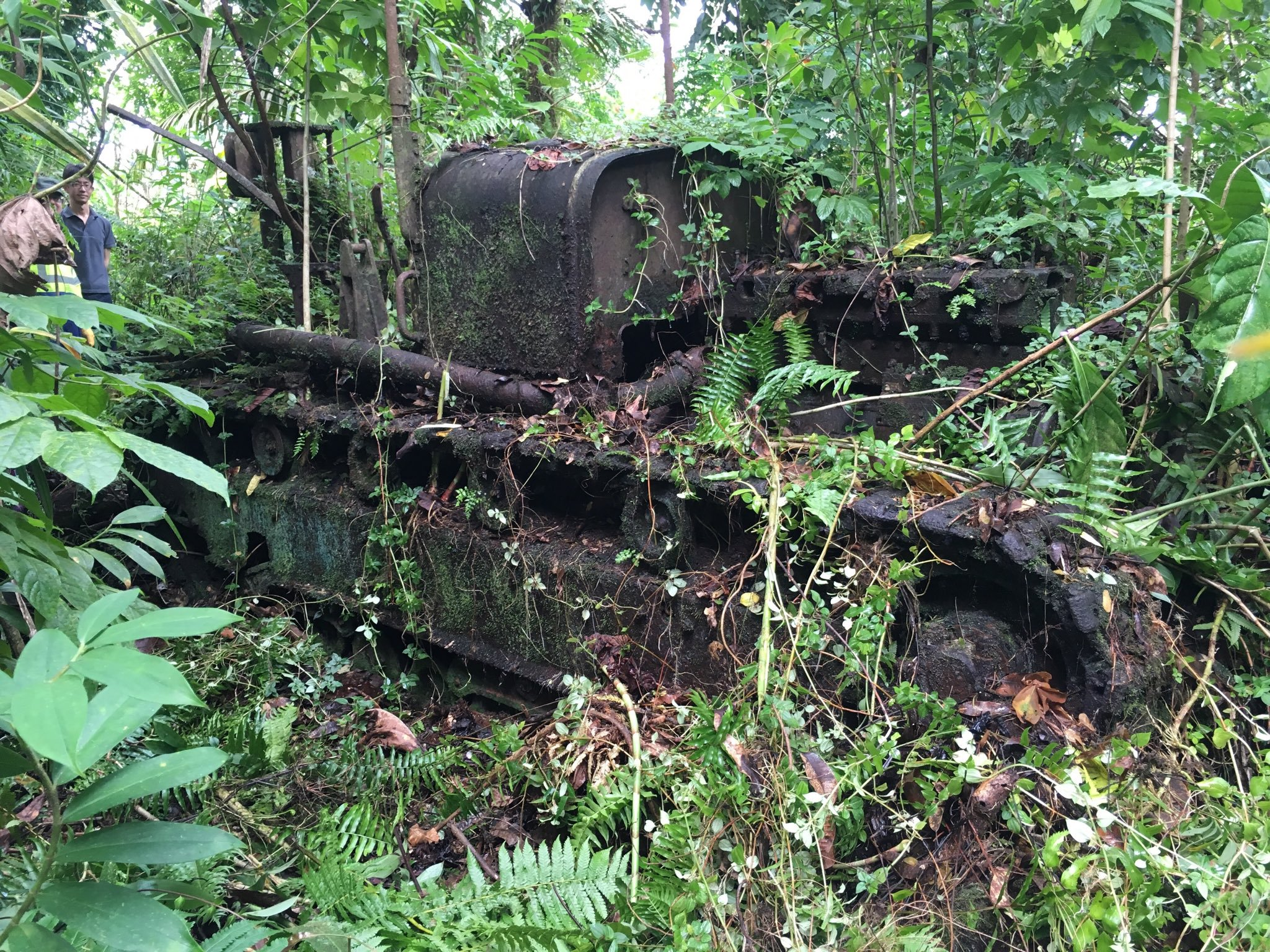 The tractor in the forest reminds locals and tourists of the military events of the last century.