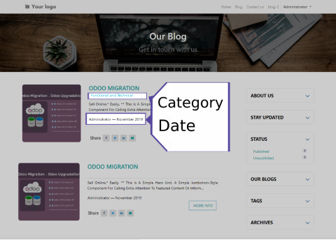 blog listing in odoo, blog page design in odoo