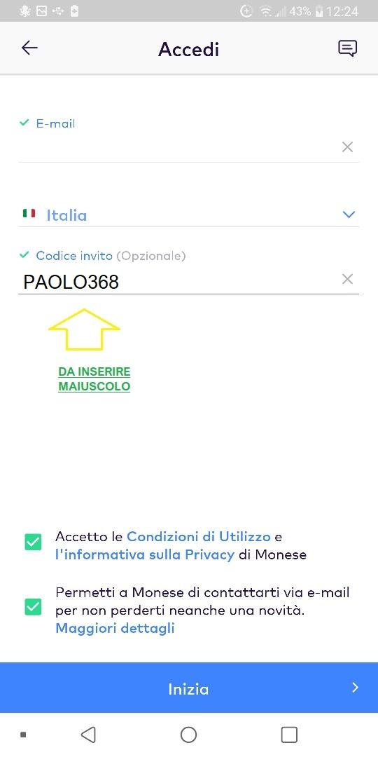 MONESE App gratuita regala fino a 25 Euro in denaro + altrettanti € SENZA LIMITI x inviti! 0-Inserimento-Monese-Invito