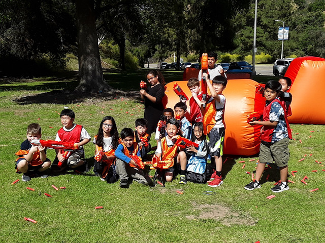 Kids posing after their mega nerf gun birthday party in Santa Monica on May 5th