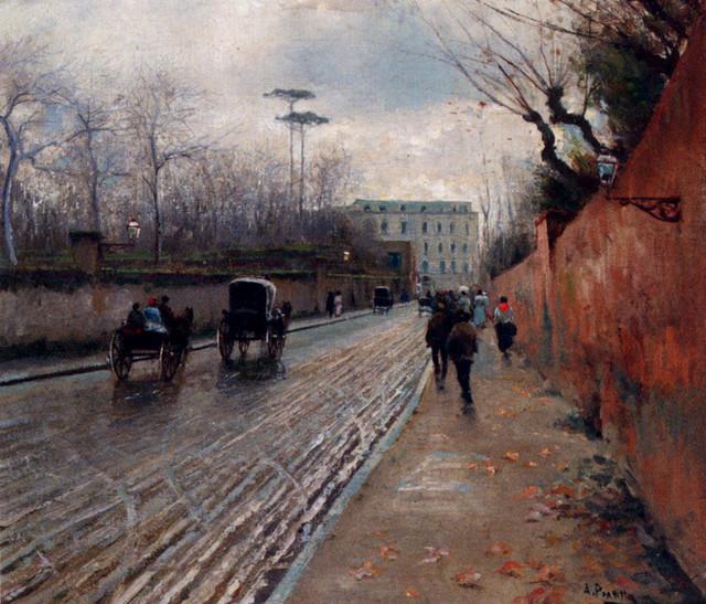 Pratella-Attilio-Street-Scene-In-Autumn