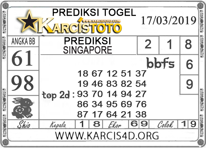 Prediksi Togel SINGAPORE KARCISTOTO 17 MARET 2019
