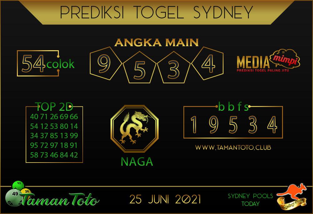 Prediksi Togel SYDNEY TAMAN TOTO 25 JUNI 2021