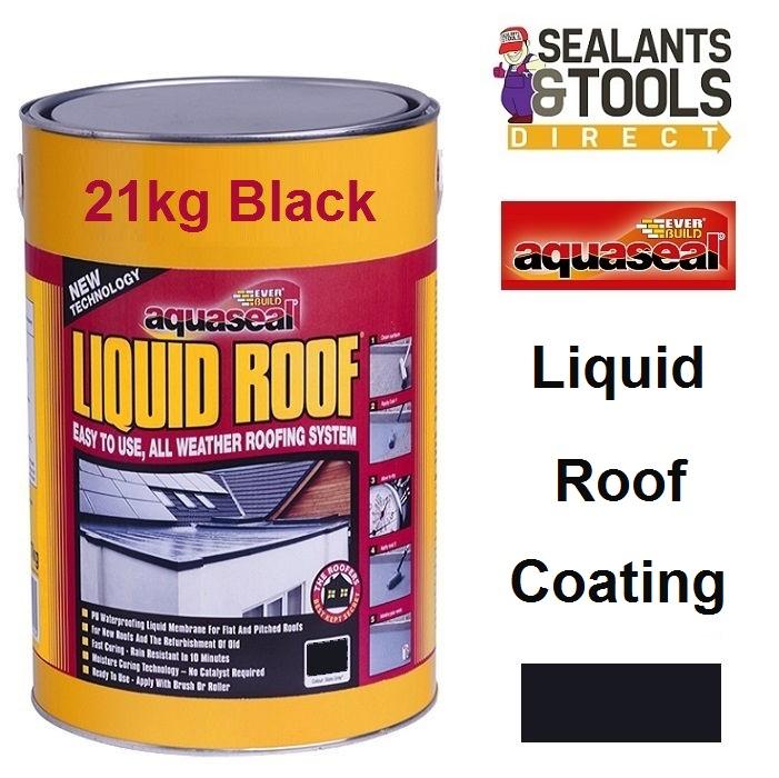 Everbuild Aquaseal Liquid Roof Coating 21Kg Black AQLIQRFBK21