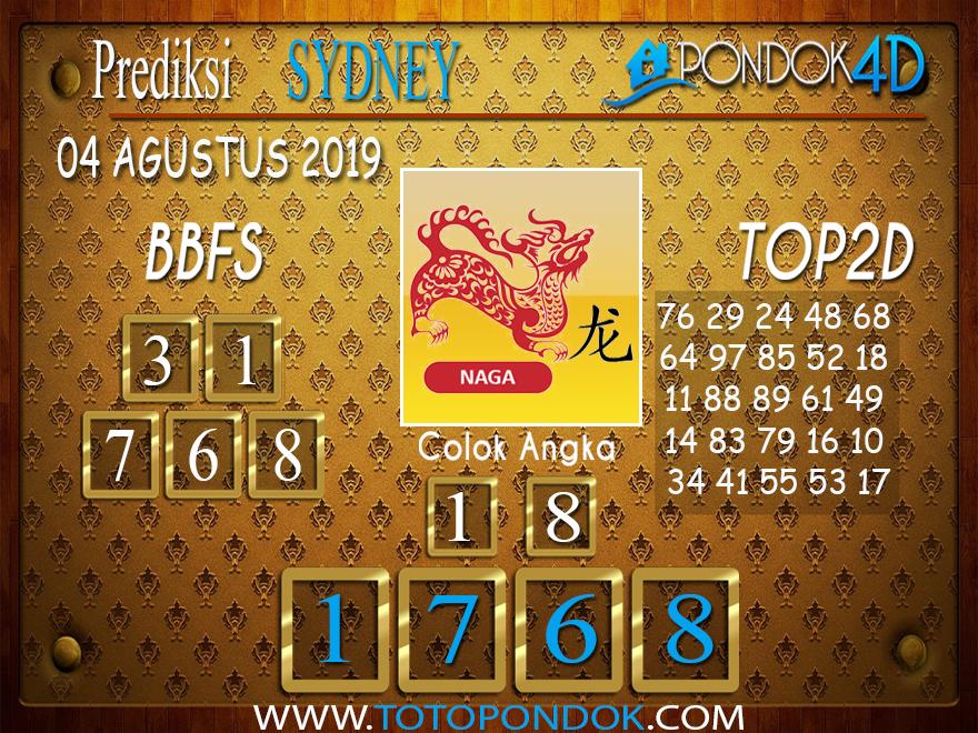 Prediksi Togel SYDNEY PONDOK4D 04 AGUSTUS 2019