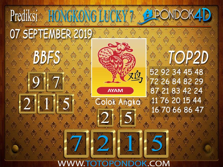 Prediksi Togel HONGKONG LUCKY 7 PONDOK4D 07 SEPTEMBER 2019
