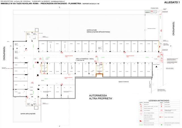 Progettazione della messa norma e SCIA antincendio di un garage per 48 posti auto, con richiesta di esame progetto dei VVF di un condominio sito in via Tazio Nuvolari. Esame progetto positivo, in attesa di deliberazione dei lavori.