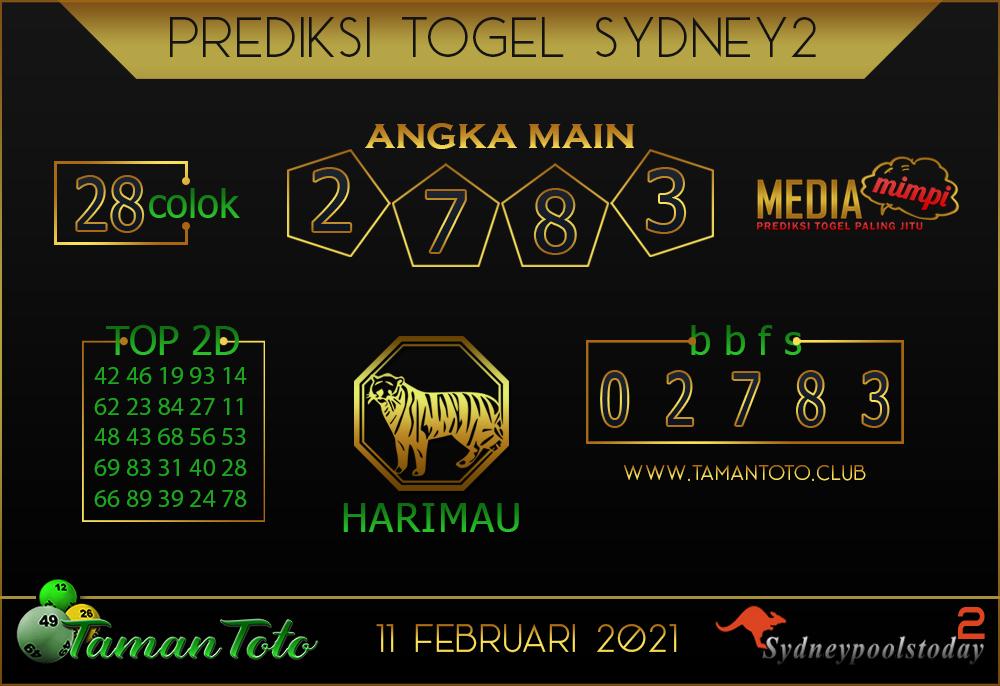 Prediksi Togel SYDNEY 2 TAMAN TOTO 11 FEBRUARI 2021