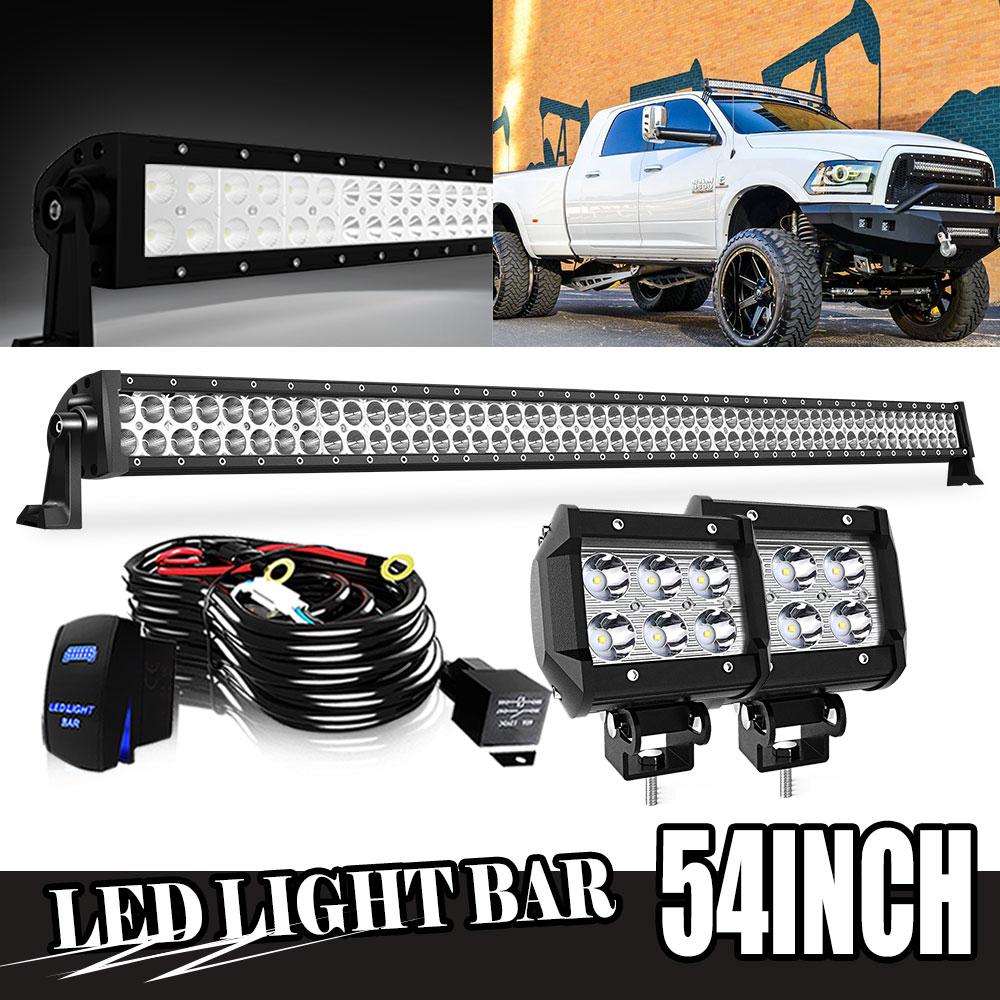"HIGH BRIGHT 4/"" SPOT Beam LED Pair HARNESS Work Light Bar Black Off-Road SUV BOAT"