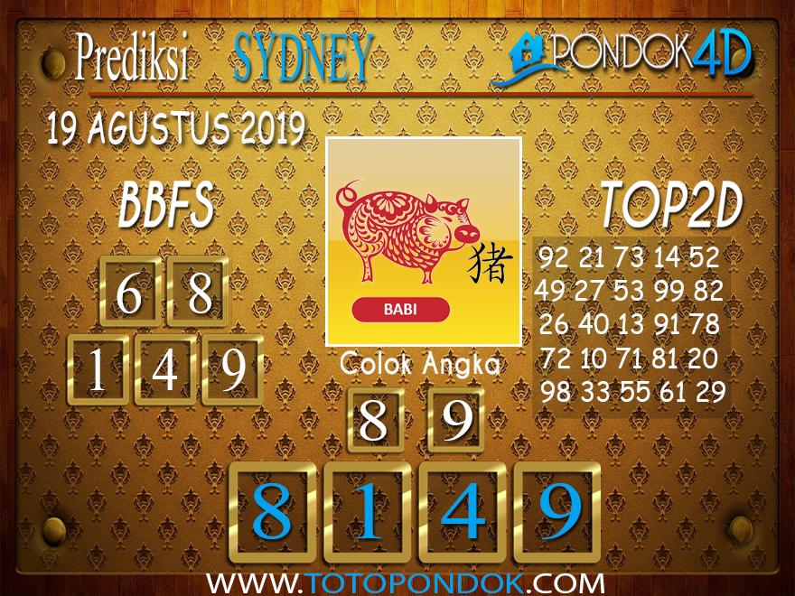 Prediksi Togel SYDNEY PONDOK4D 19 AGUSTUS 2019