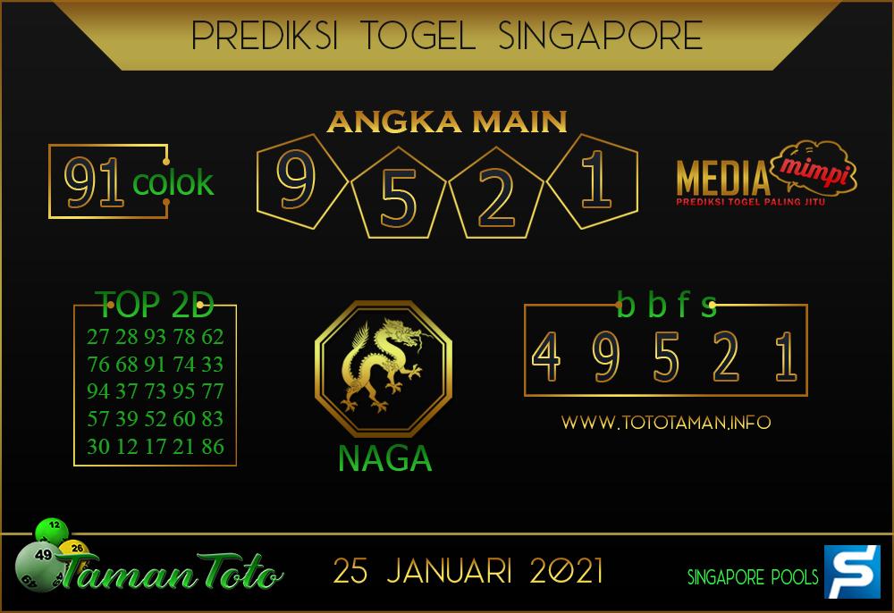 Prediksi Togel SINGAPORE TAMAN TOTO 25 JANUARI 2021
