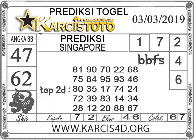 Prediksi Togel SINGAPORE KARCISTOTO 03 MARET 2019