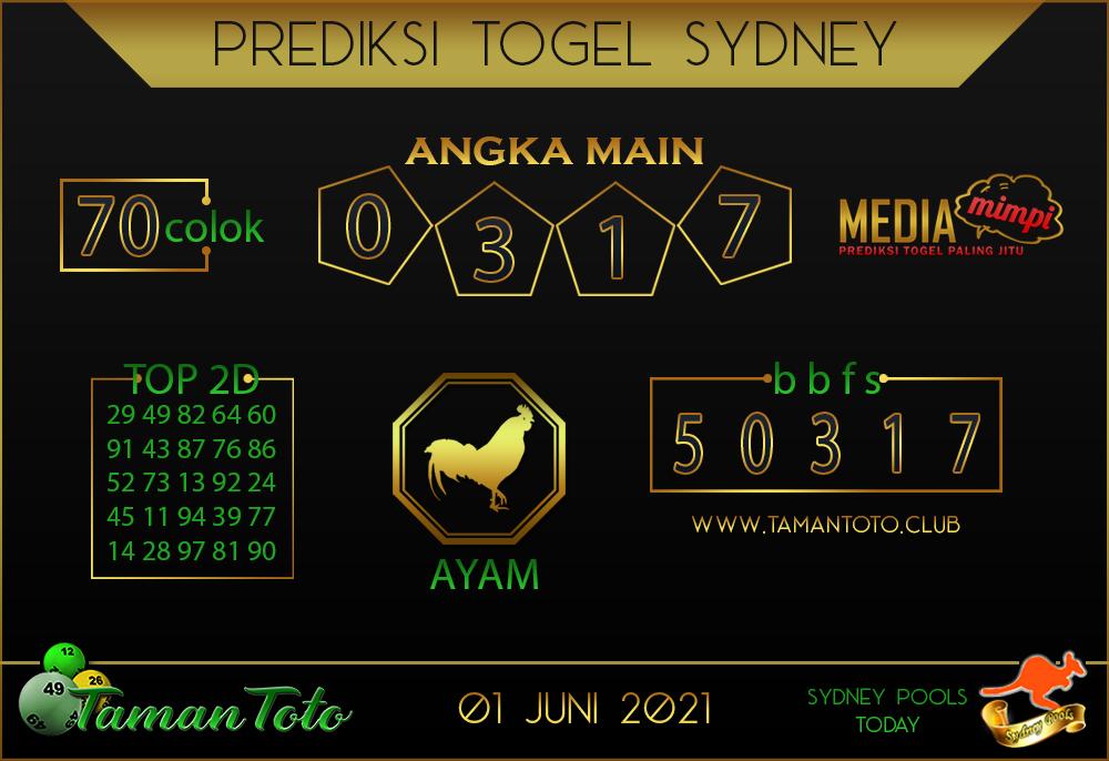 Prediksi Togel SYDNEY TAMAN TOTO 01 JUNI 2021