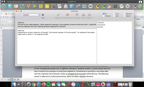 Read&Write dictionary feature being used in Microsoft Word document