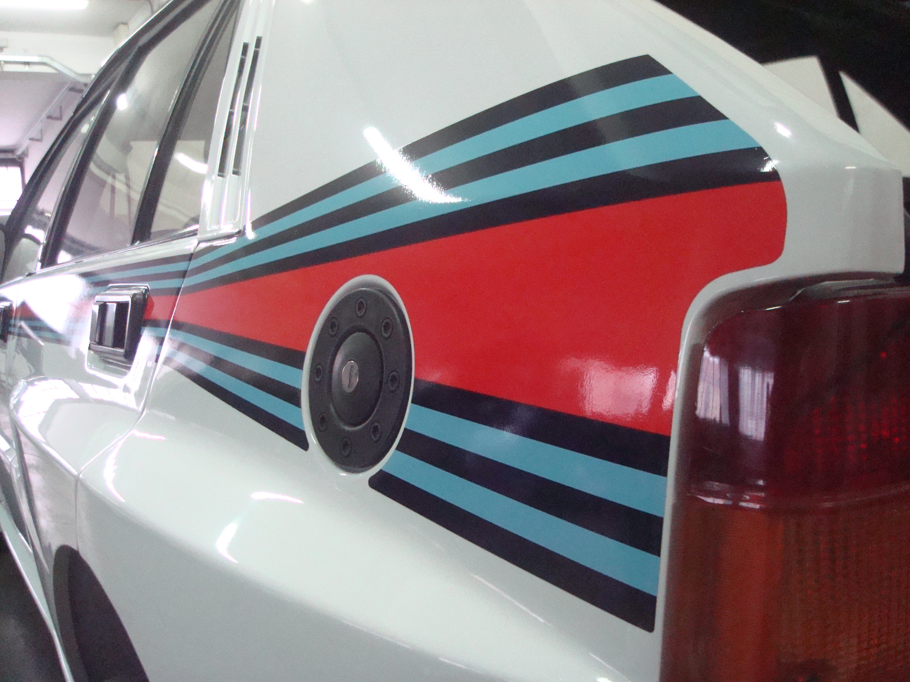 martini 5 decal set on car, showing detailed shaping of the stickers.