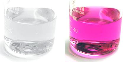 Fenolftaleína, transparente y rosa, pH básico y ácido, marcador del ph