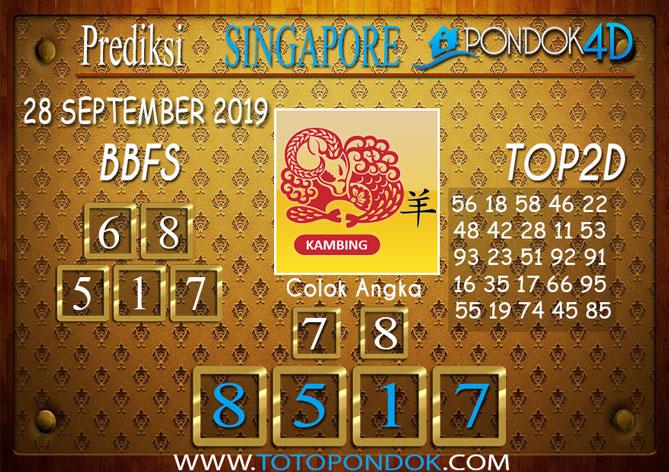 Prediksi Togel SINGAPORE PONDOK4D 28 SEPTEMBER 2019