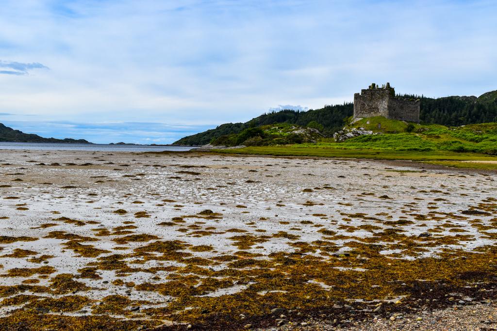 Castle Tioram on the beach, Loch Moidart
