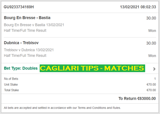 CAGLIARI TIPS - FIXED MATCHES