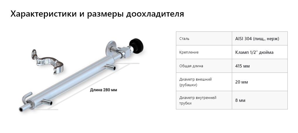 Характеристики и размеры доохладителя самогонного аппарата Luxstahl 8