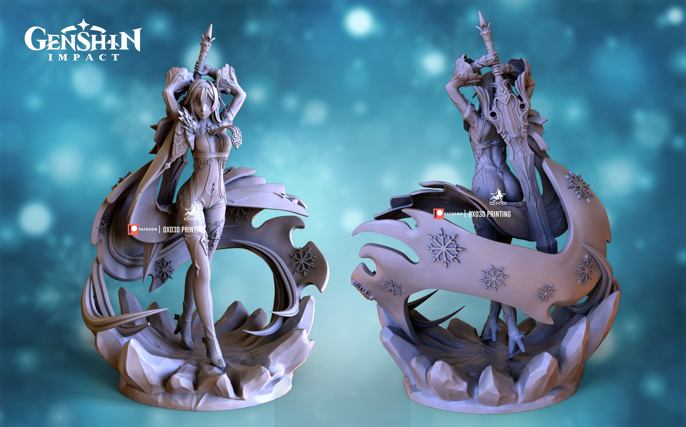 Eula/Yura From Genshin Impact 3D Print STL File - Standard version without color