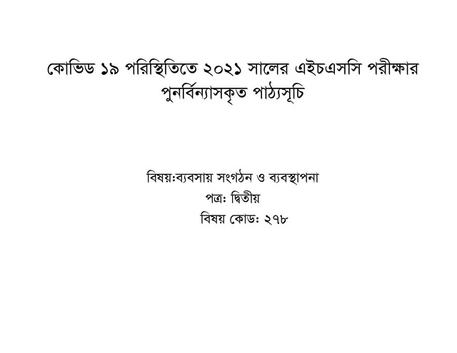 HSC Business Organization and Management 2nd Paper Short Syllabus 2021