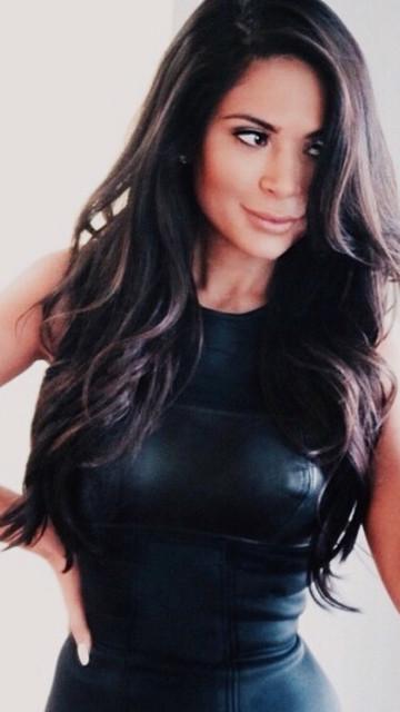Beauty Blogger/Host Marianna Hewitt wearing PRYSM ATELIER Leather Bust Dress