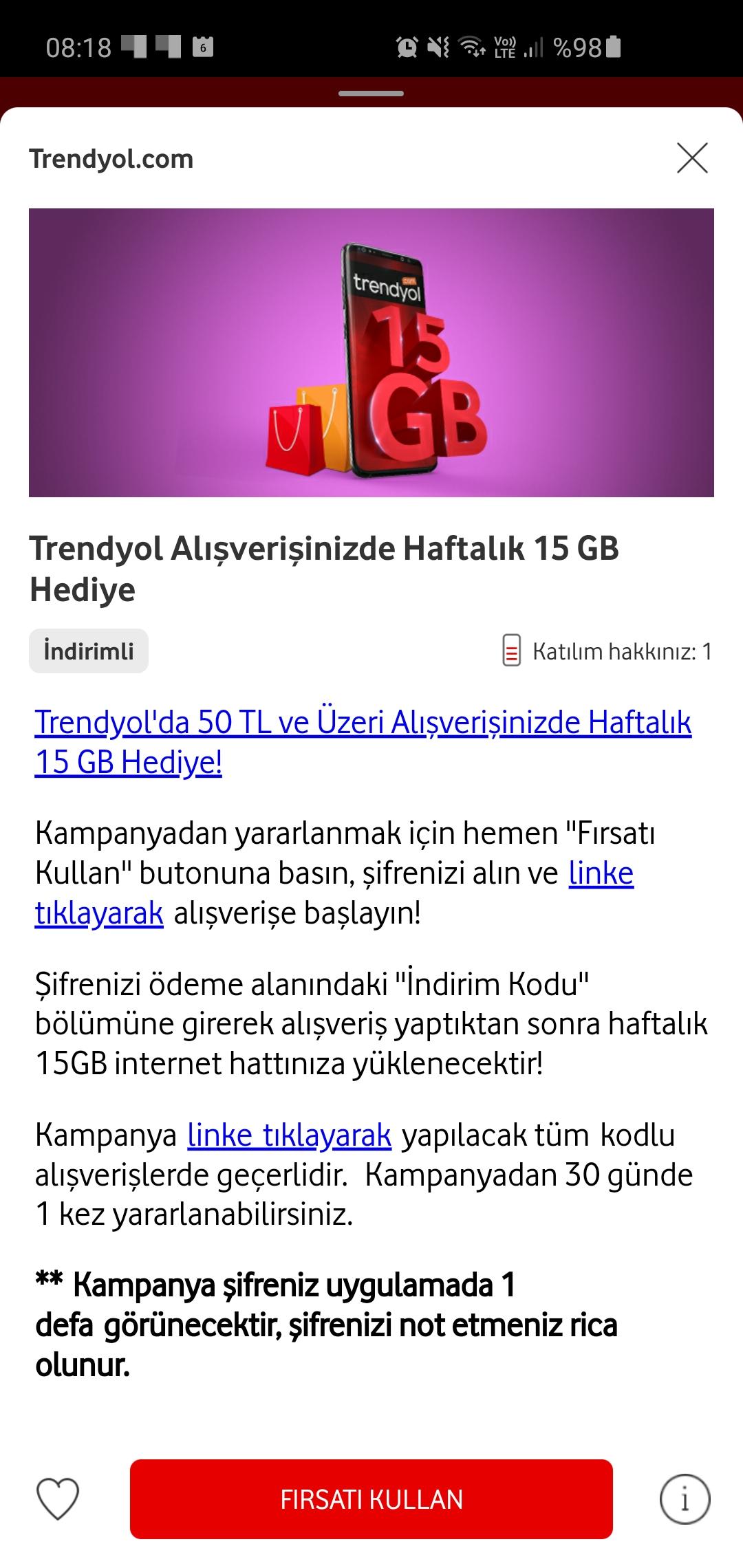 Trendyol Alışverişine 15GB Hediye - Vodafone Yanımda Kupon Kodu