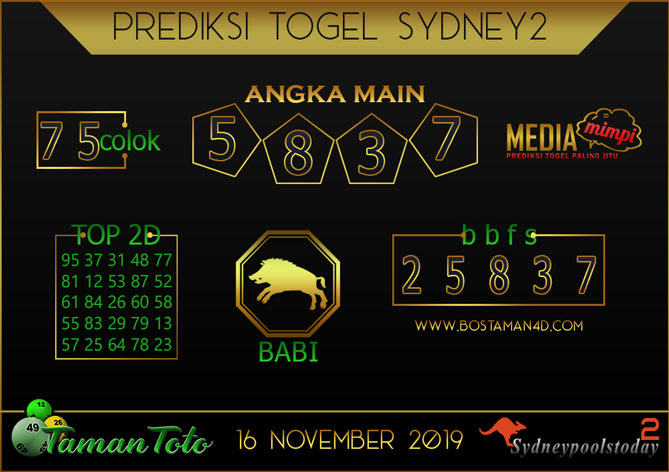 Prediksi Togel SYDNEY 2 TAMAN TOTO 16 NOVEMBER 2019