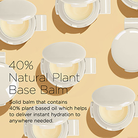 Solid balm that contains 40% plant based oil which helps to deliver instant hydration to anywhere needed.