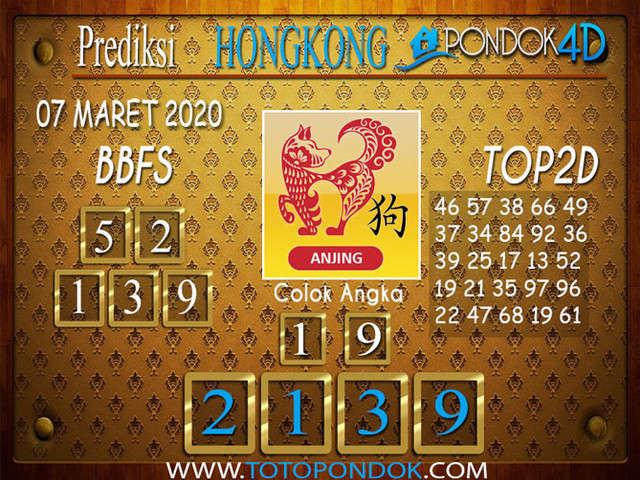 Prediksi Togel HONGKONG PONDOK4D 07 MARET 2020