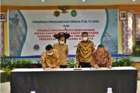 Penandatanganan Nota Kesepahaman disaksikan oleh Menteri Agraria dan Tata Ruang/BPN dan Dirjen Badilag Mahkamah Agung RI