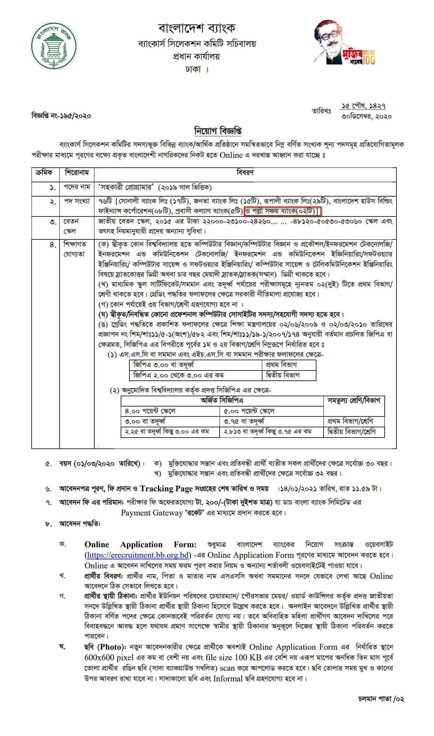 pallisanchay-bank-job-circular-learninghomebd