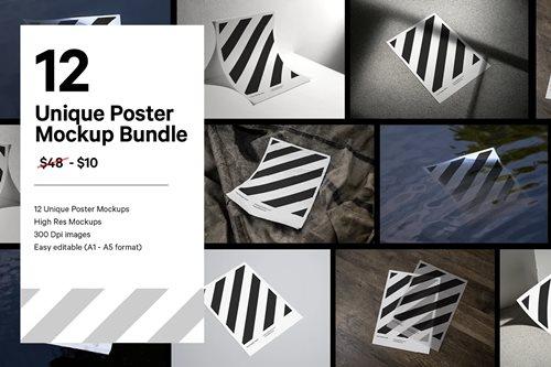 12x Paper Poster Mockup Bundle