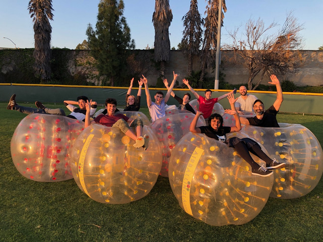 Kids posing after their bubble soccer party in west la on April 38th
