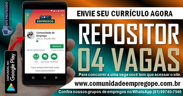 REPOSITOR, 04 VAGAS PARA SUPERMERCADO EM JABOATÃO DOS GUARARAPES