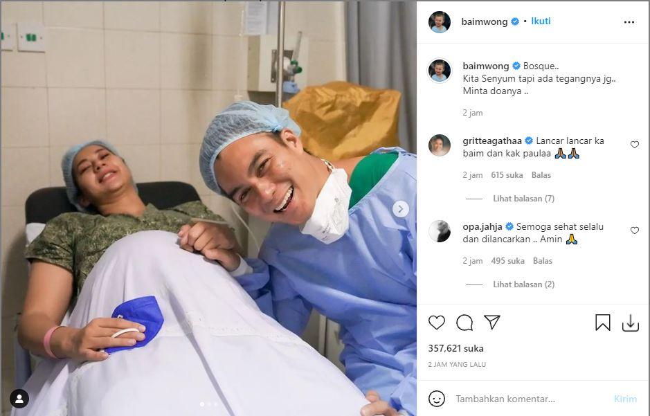 Unggahan Baim Wong jelang persalinan Paula Verhoeven