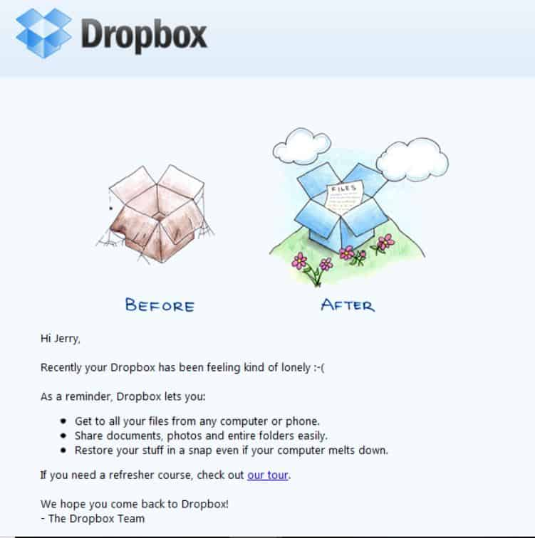 dropbox email marketing example