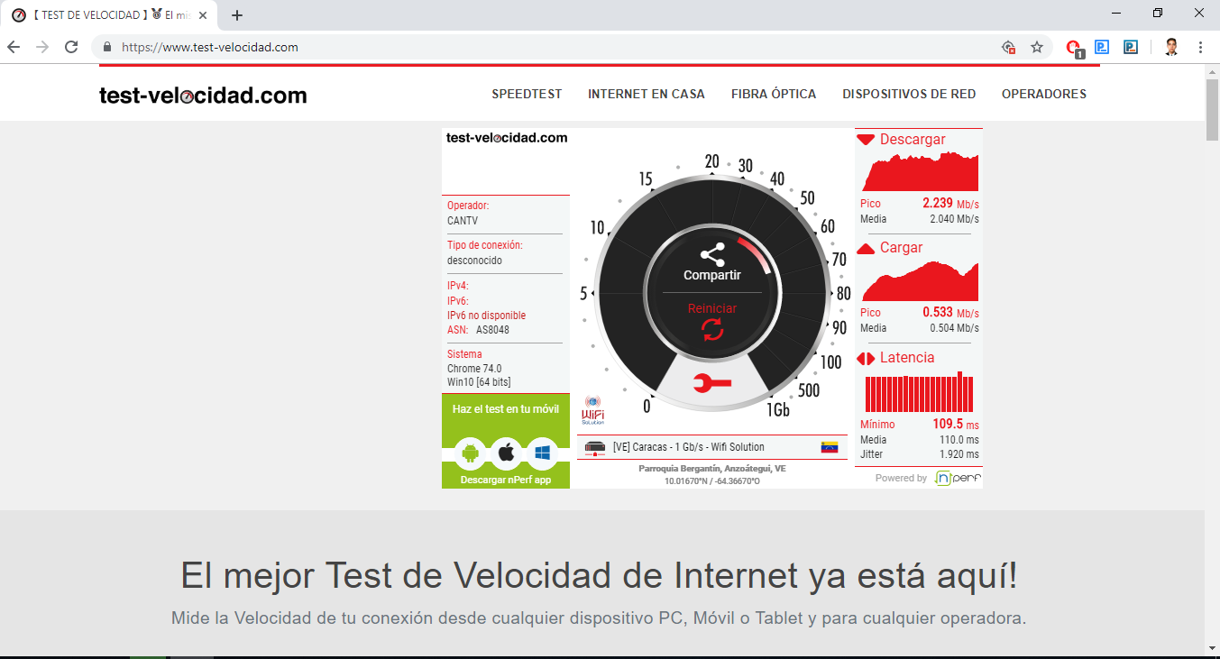 How to measure the WiFi connection speed in Telmex.