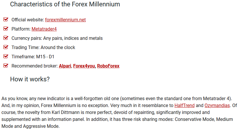 Forex Millennium - new forex indicator with effective algorithm