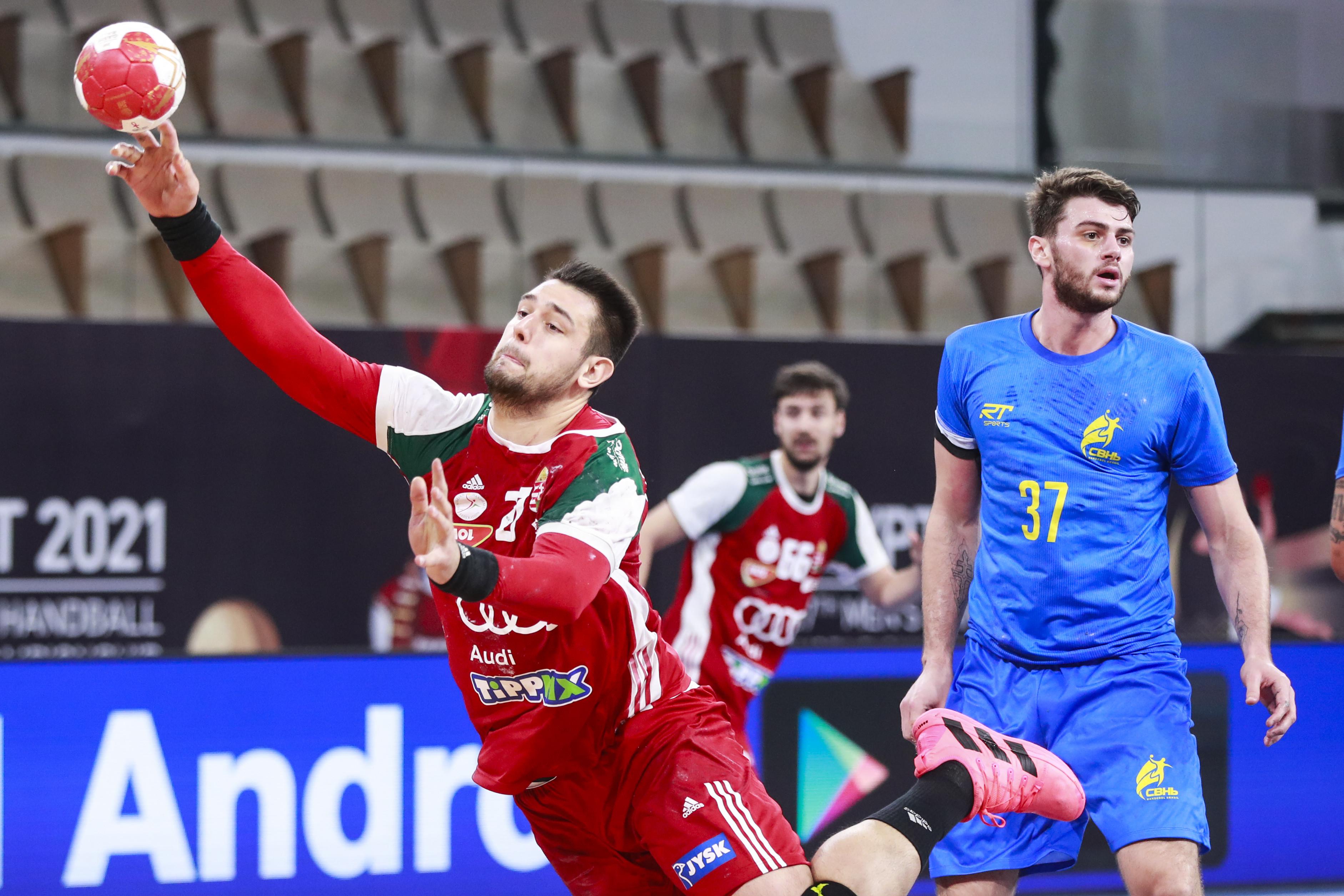 Haniel Langaro em partida do Brasil contra a Hungria pelo Campeonato Mundial de Handebol