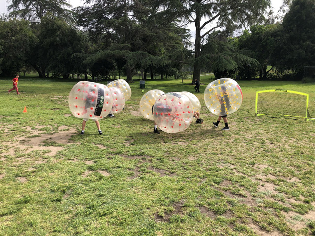 Bubble Soccer Birthday party in action in West Los Angeles on April 27th