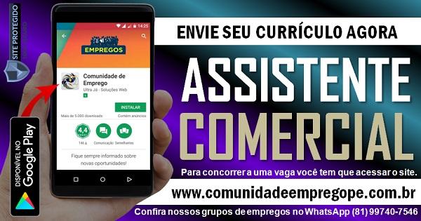 ASSISTENTE COMERCIAL COM SALÁRIO R$ 1200,00 PARA EMPRESA DE SERVIÇOS